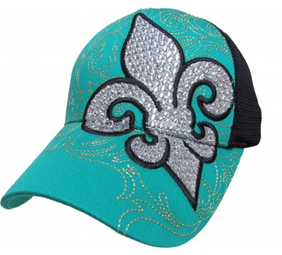 Bling Hat with Fluer de Lis Embellishments in Turquoise