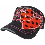 Bling Hat with Heart Embellishments in Black