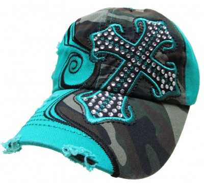 Bling Hat with Cross Embellishments in Turquoise