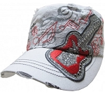 Bling Hat with Guitar Embellishment in White