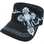 Bling Hat with Cross Embellishment in Black