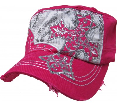 Bling Hat with Cross Embellishment in Hot Pink