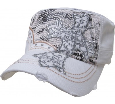 Bling Hat with Cross Embellishment in White