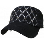 Bling Hat with Diamond Pattern Embellishments in Black