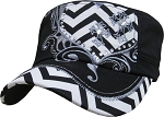 Bling Hat with Black and White Chevron Heart Embellishment in Black