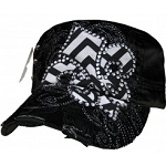 Bling Hat with Fluer de Lis Embellishment in Black