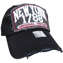 Bling Hat with New York 1788 Embellishments in Black