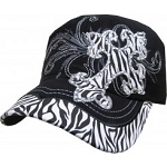 Bling Hat with Cross and Zebra Print Embellishment in Black