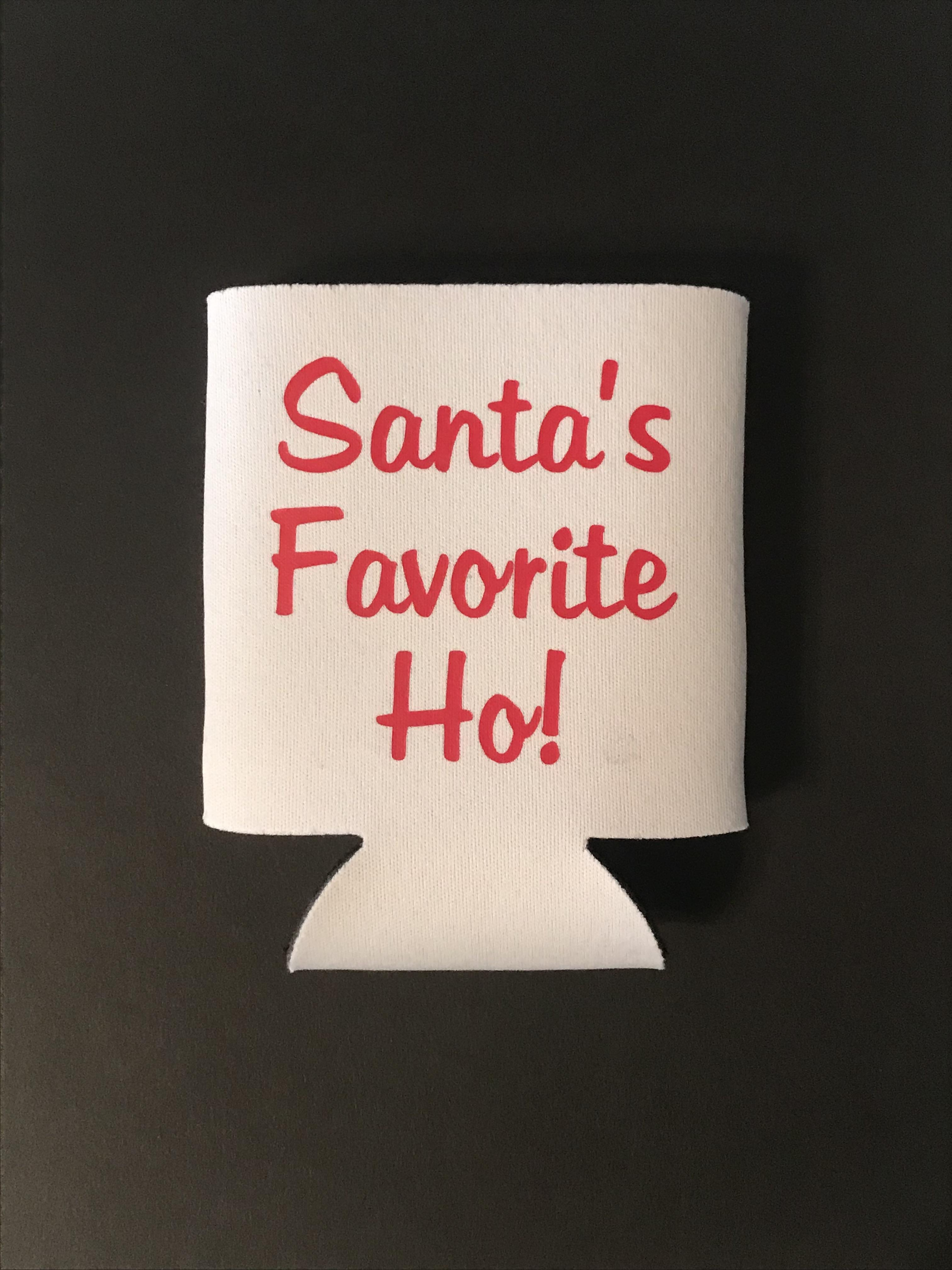 Santa's Favorite Ho!  Collapsible Can Cooler / Coozie