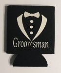Groomsman.  Collapsible Can Cooler / Coozie