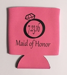 Maid Of Honor With Wedding Date.  Collapsible Can Cooler / Coozie