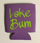 Lake Bum.  Collapsible Can Cooler / Coozie