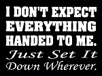 I Don't Expect Everything Handed To Me.  Just Set It Down Wherever.  Vinyl Decal