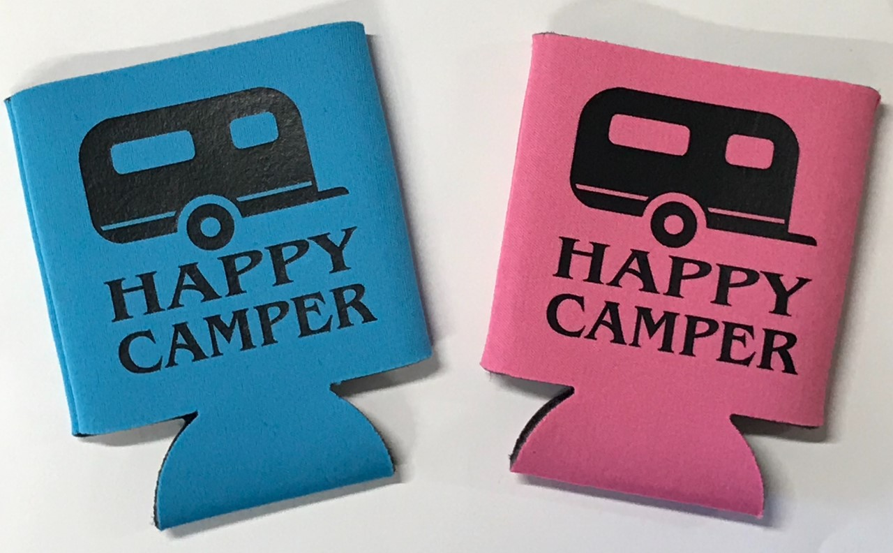 Happy Camper.  Collapsible Can Cooler / Coozie