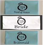 Bride, Maid of Honor & Bridesmaid with Wedding Date In Diamond Ring.  Matching Bridal Party Headband