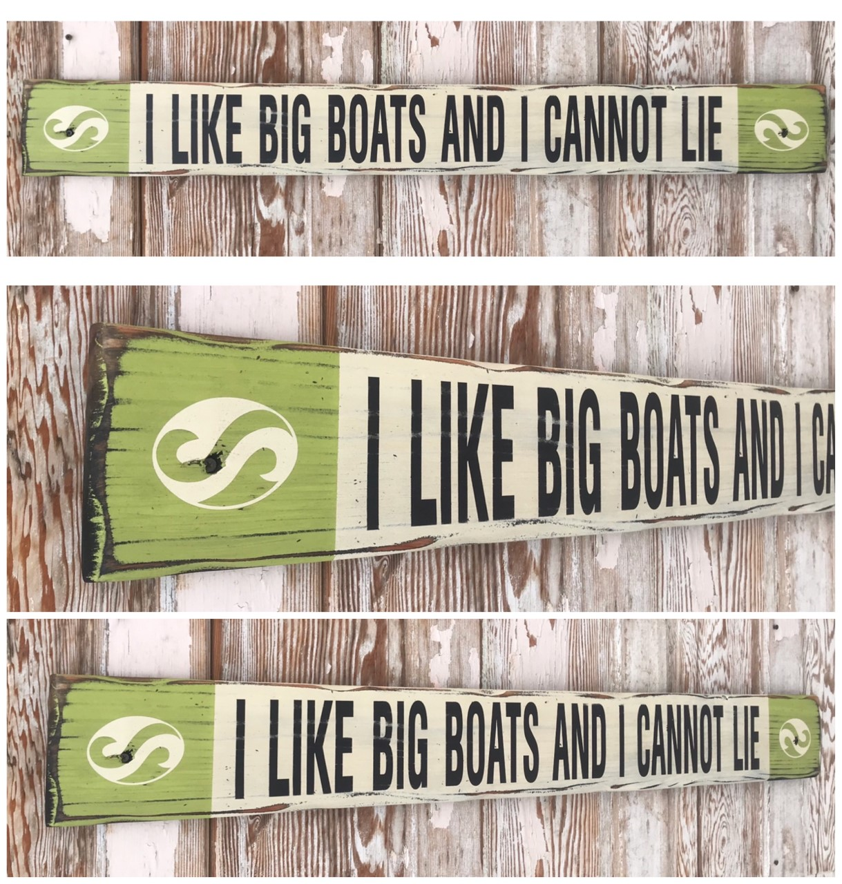 I Like Big Boats And I Cannot Lie.  Rustic 4 Foot Long Wood Sign