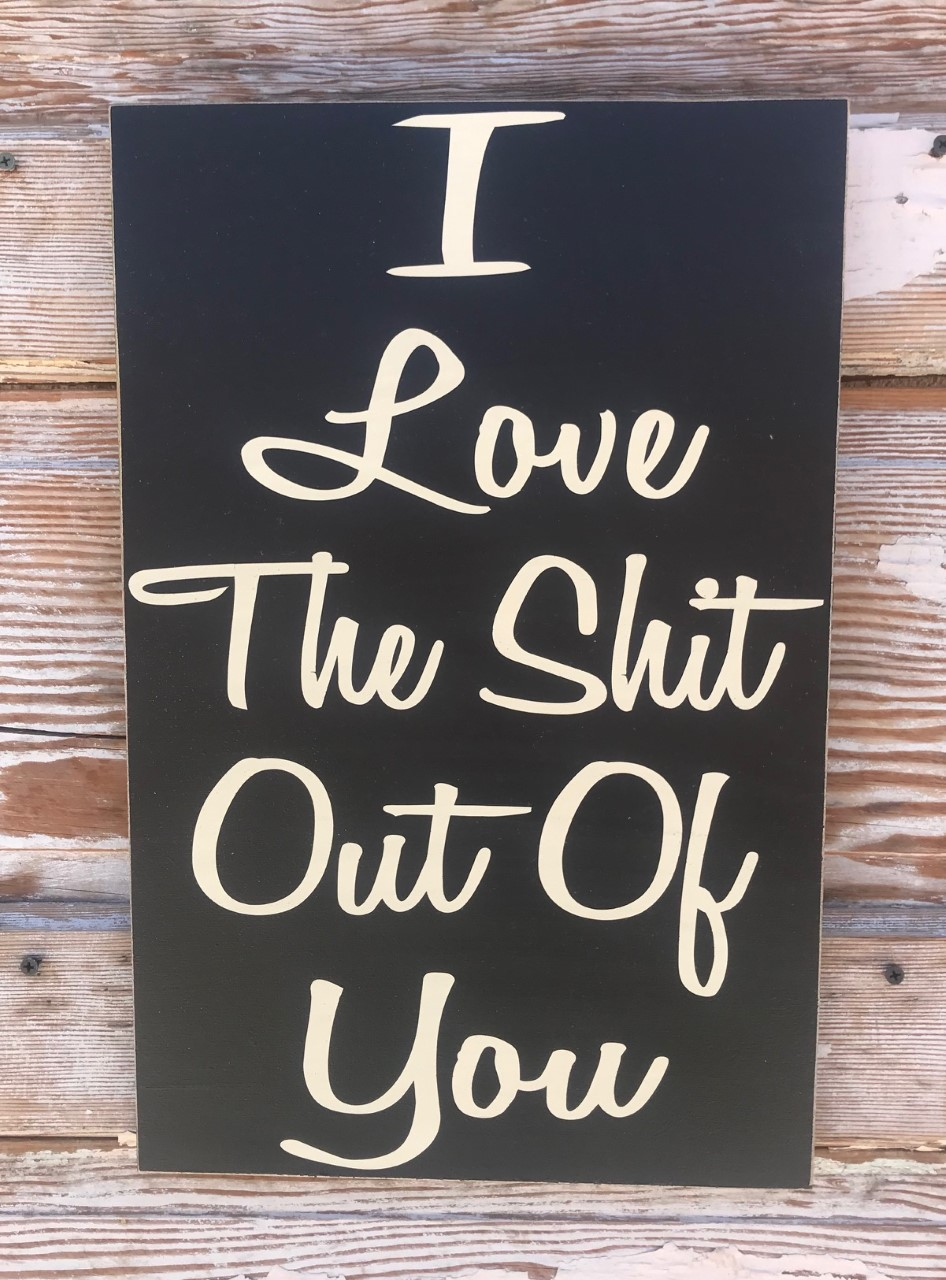 I Love The Shit Out Of You.  Wood Sign