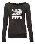 Guns.  Ammo.  Beer.  Women's Scoop Neck Sweatshirt