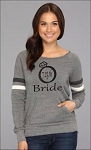 Bride, Maid of Honor & Bridesmaid with Wedding Date In Diamond Ring.  Women's Scoop Neck Sweatshirt