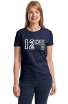 12th Woman.  Seattle Seahawks Football.  Ladies T-Shirt