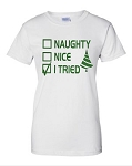 Naughty.  Nice.  I Tried.  Ladies Fit T-Shirt