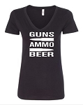 Guns.  Ammo.  Beer.  Ladies Fit V-Neck T-Shirt