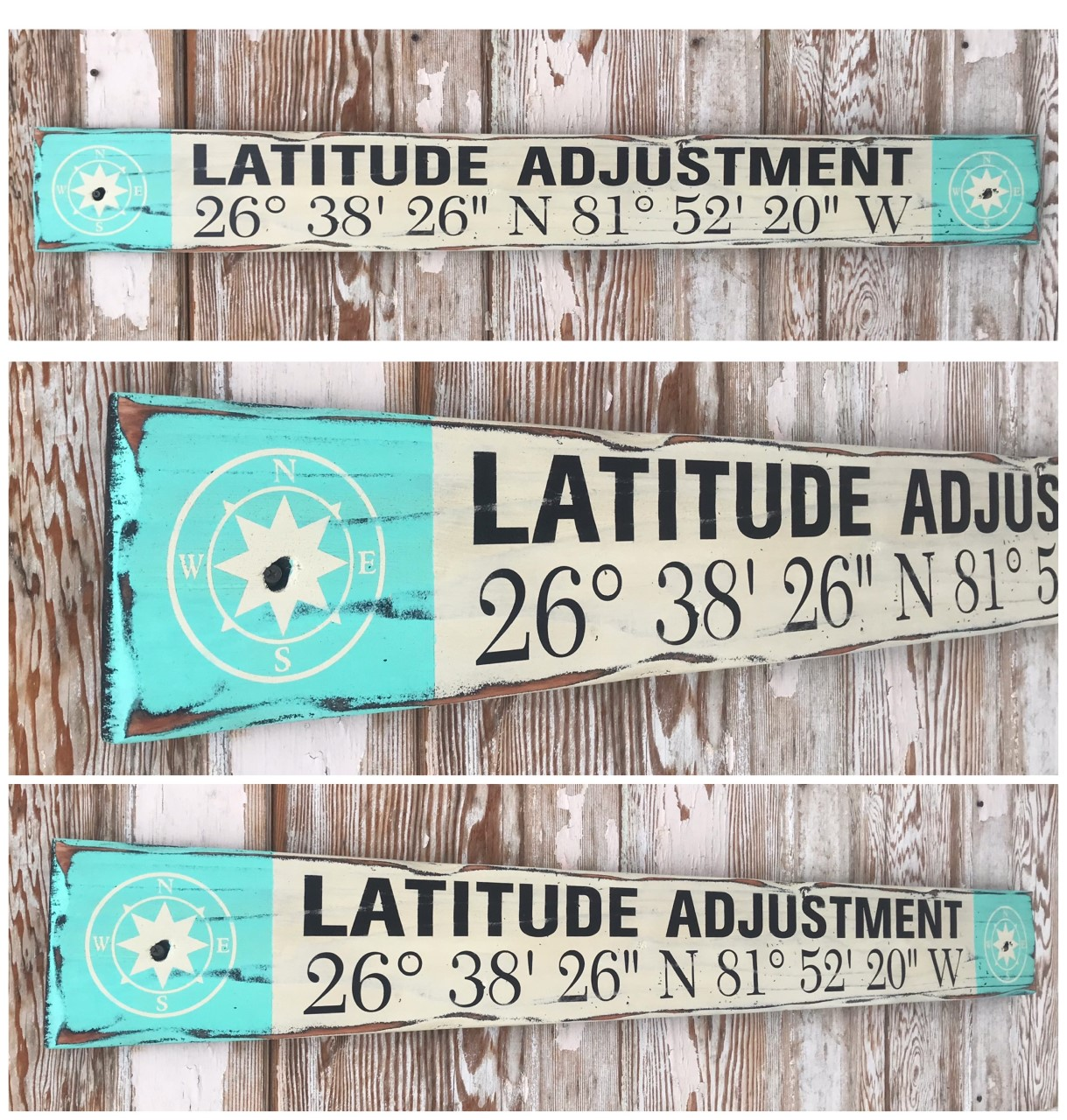 Latitude Adjustment with Custom GPS Coordinates Sign.  Rustic 4 Foot Long Wood Sign
