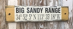 Big Sandy Range GPS Coordinates Rustic Sign