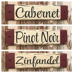Set Of 3 - Rustic Wine Wood Signs.