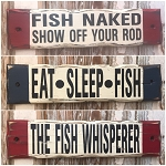 Set Of 3 - Rustic Fishing Wood Signs.