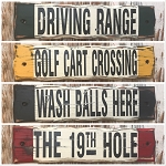 Set Of 4 - Rustic Golf Wood Signs.