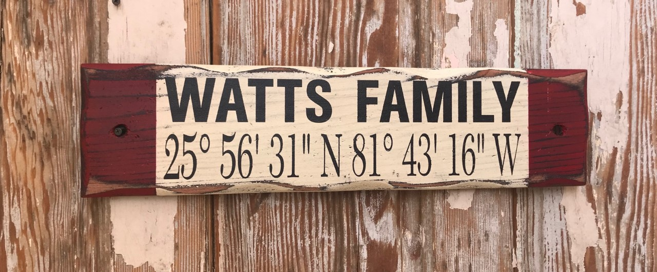 Custom Family Name GPS Coordinates Rustic Sign