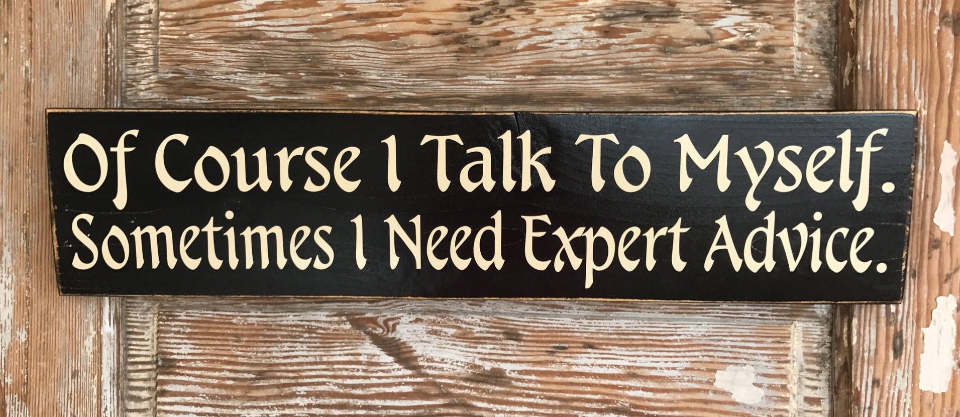 Of Course I Talk To Myself.  Sometimes I Need Expert Advice.  Wood Sign
