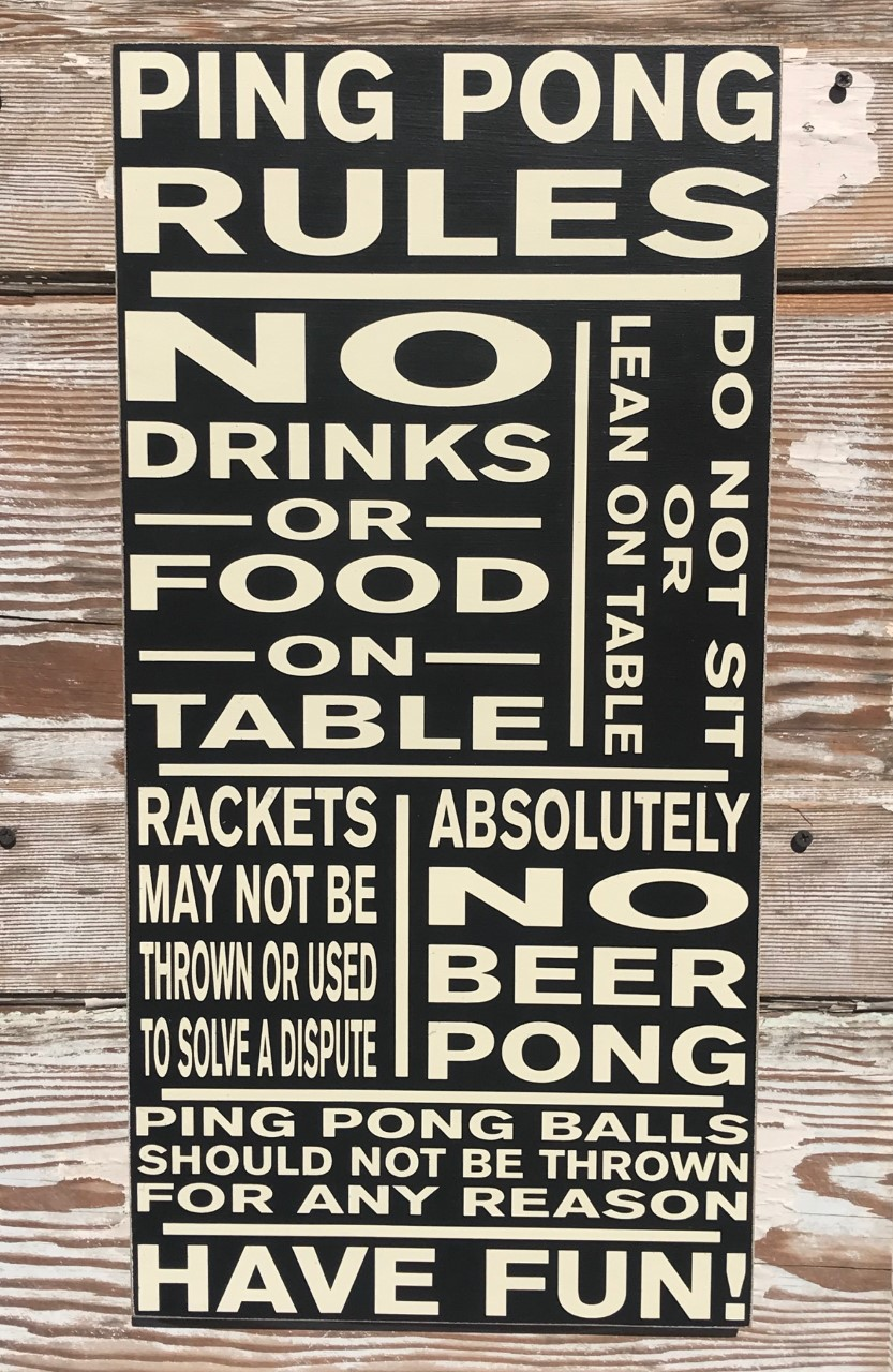 Ping Pong Rules Wood Sign