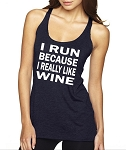 I Run Because I Really Like Wine.  Ladies Racer Back Tank Top