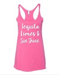 Tequila, Limes & Sunshine.  Ladies Racer Back Tank Top