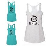 Bride, Maid of Honor & Bridesmaid with Wedding Date in Diamond Ring.  Matching Ladies Racer Back Tank Top