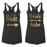Bride & Bride Tribe.  Matching Ladies Racer Back Tank Top