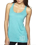 Monogrammed Ladies Racer Back Tank Top with Monogram located at Bottom Left