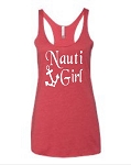 Nauti Girl.  Ladies Racer Back Tank Top