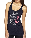 Lake Hair.  Don't Care.  Ladies Racer Back Tank Top