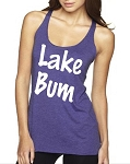 Lake Bum.  Ladies Racer Back Tank Top