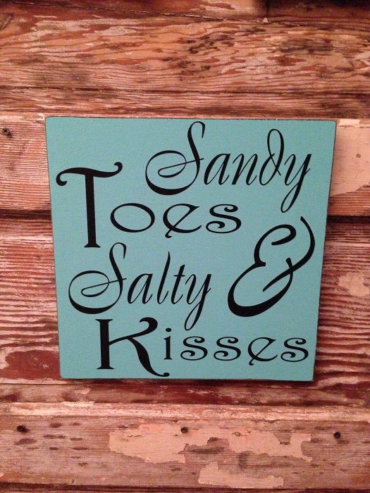 Sandy Toes & Salty Kisses.   Wood Sign