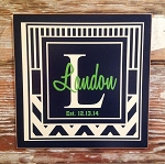Custom Monogram Sign With Initial, Last Name, & Date Established in Chevron Pattern.  Wood Sign