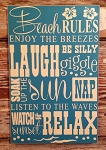Beach Rules. Subway Wood Sign