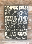 Camping Rules.  Subway Style Wood Sign