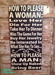 How To Please A Woman And How To Please A Man.  Funny Wood Sign