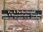 I'm A Perfectionist With A Procrastinator Complex.  Some Day I'm Going To Be Awesome!  Wood Sign