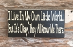 I Live In My Own Little World But That's Okay, They All Know Me There.  Wood Sign