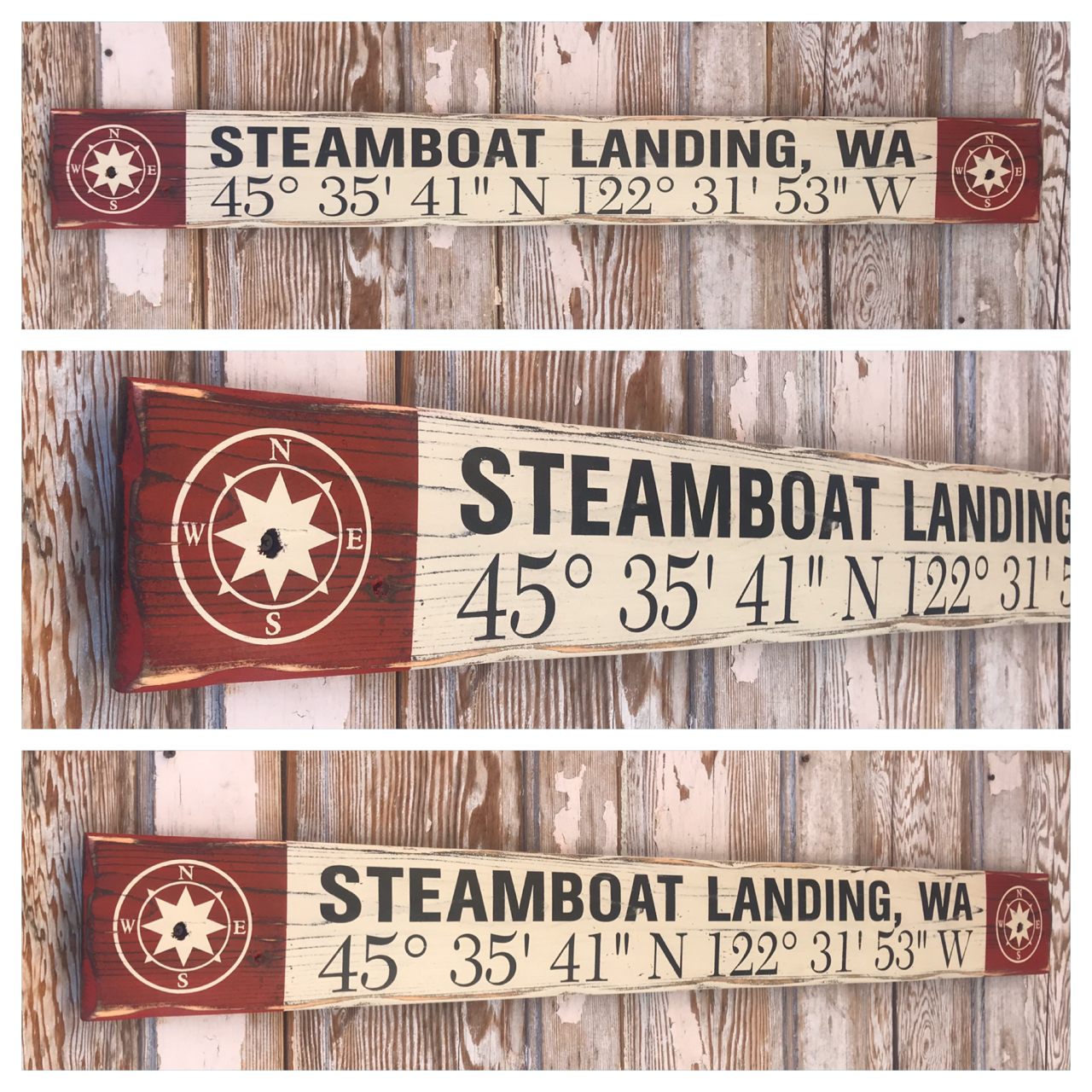 Custom GPS Coordinates Sign with City & State.  Rustic 4 Foot Long Wood Sign